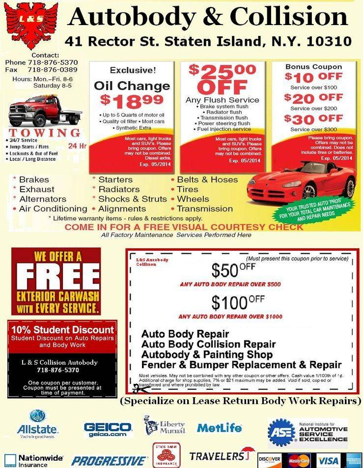 specials coupons oil change repairs painting