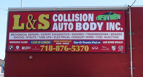 L and S collision sign on location